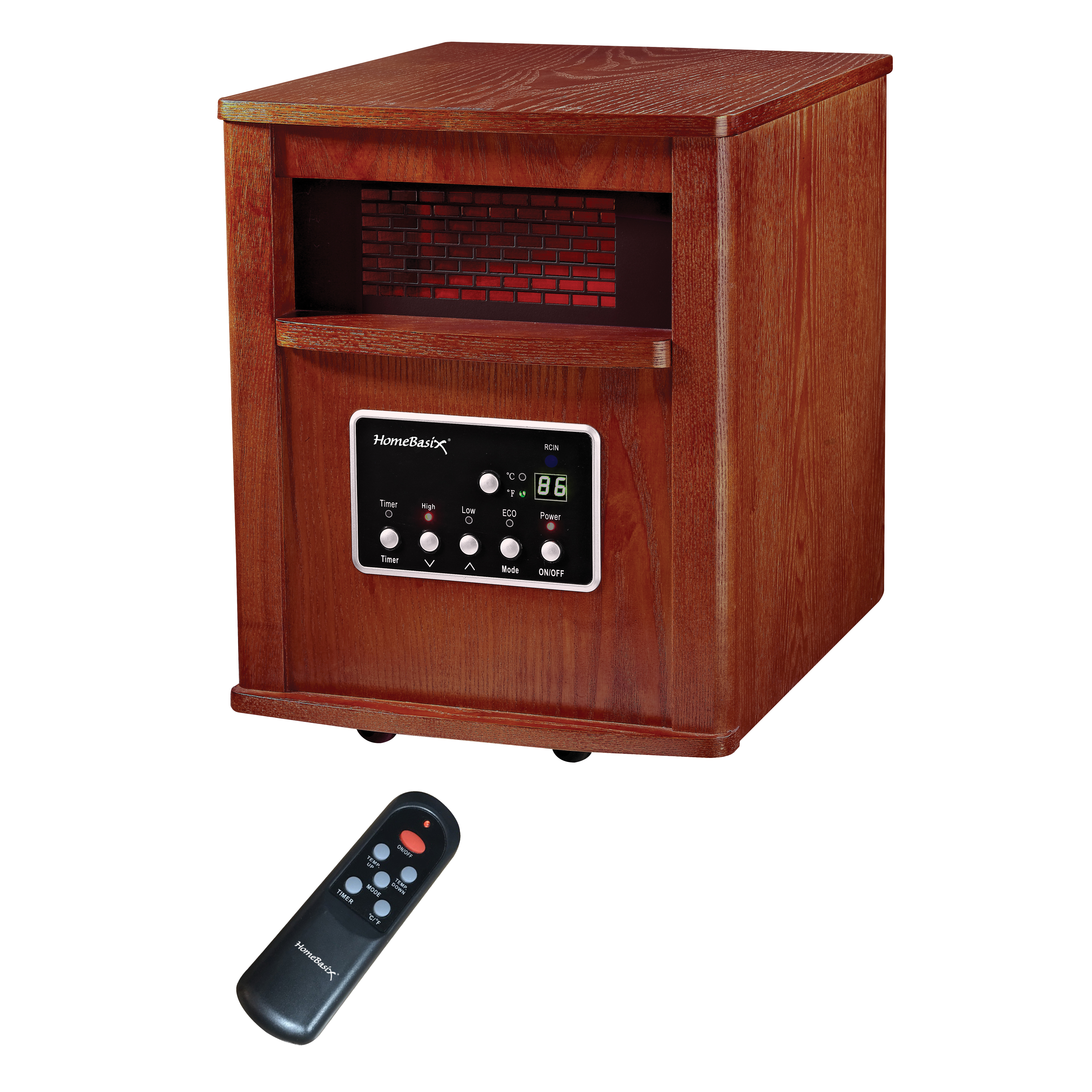 Picture of PowerZone WH-96H Infrared Quartz Wood Cabinet Heater with Remote Control, 12.5 A, 120 V, ECO/1000/1500W W, Cherry