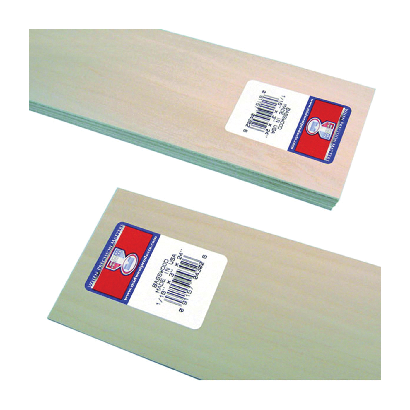 Picture of MIDWEST PRODUCTS 4302 Basswood Sheet, 24 in L, 3 in W, Basswood