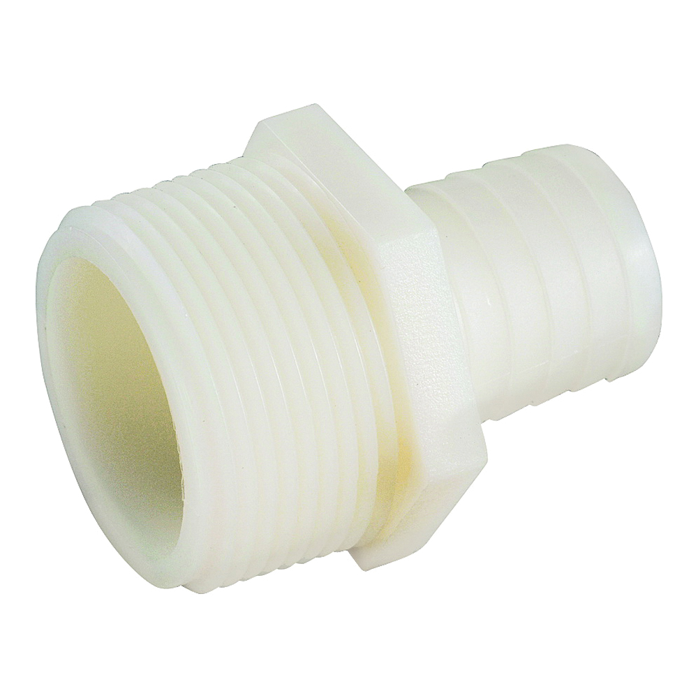 Picture of Anderson Metals 53701-0612 Adapter, 3/8 in, Barb, 3/4 in, MIP, 150 psi Pressure, Nylon