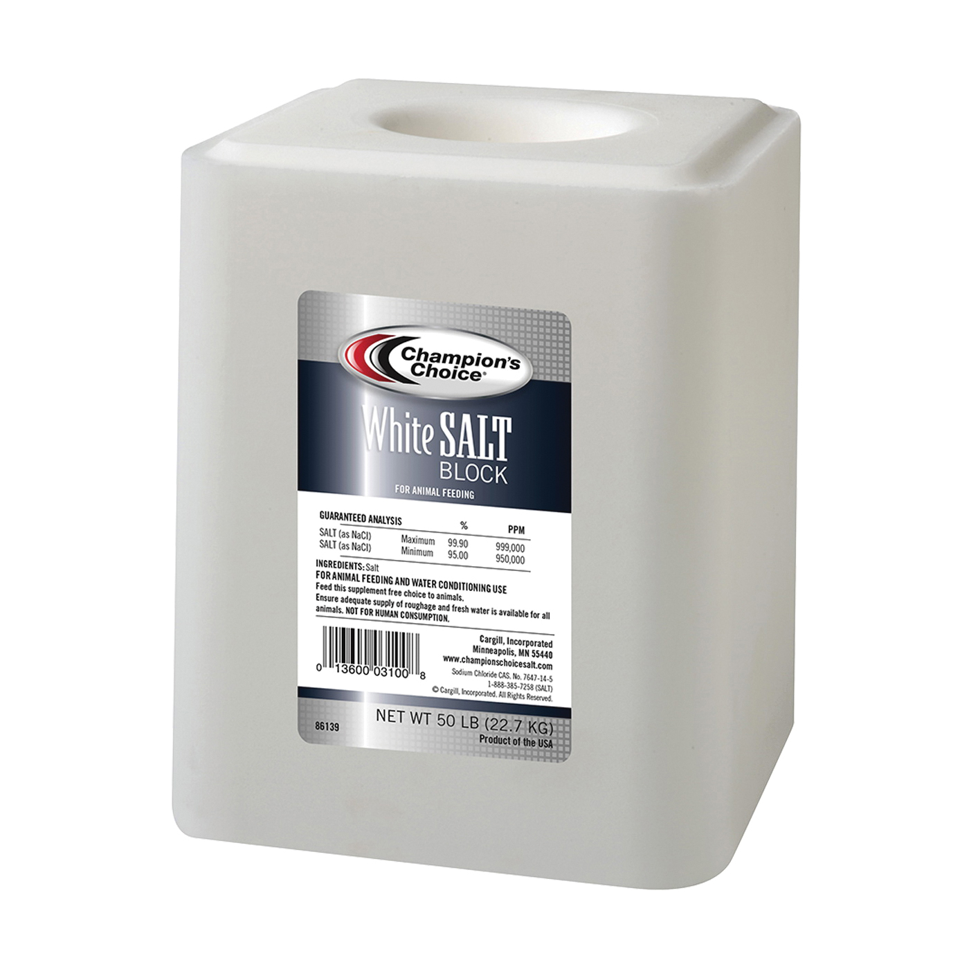 Picture of Cargill Champion's Choice 100012578 Salt Block, 50 lb Package