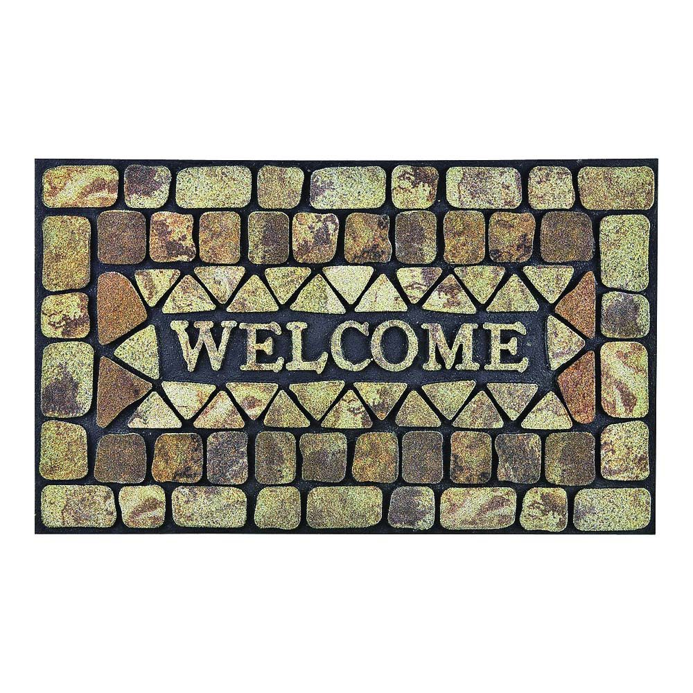 Picture of Simple Spaces DM-183006 Door Mat, 30 in L, 18 in W, Flocking Pattern, Natural Coconut Surface