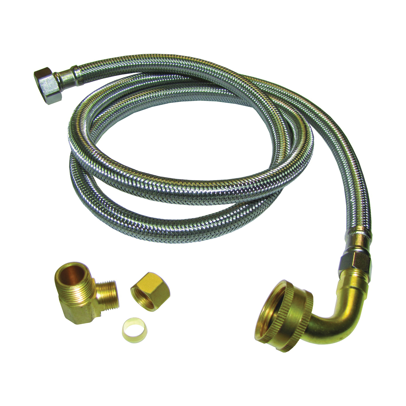 Picture of Plumb Pak PP23834 Dishwasher Connector, 3/8 in, Compression x MIP, Stainless Steel