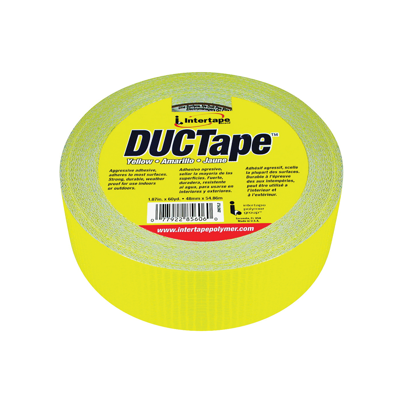 Picture of IPG 20C-Y2 Duct Tape, 60 yd L, 1.88 in W, Polyethylene-Coated Cloth Backing, Yellow