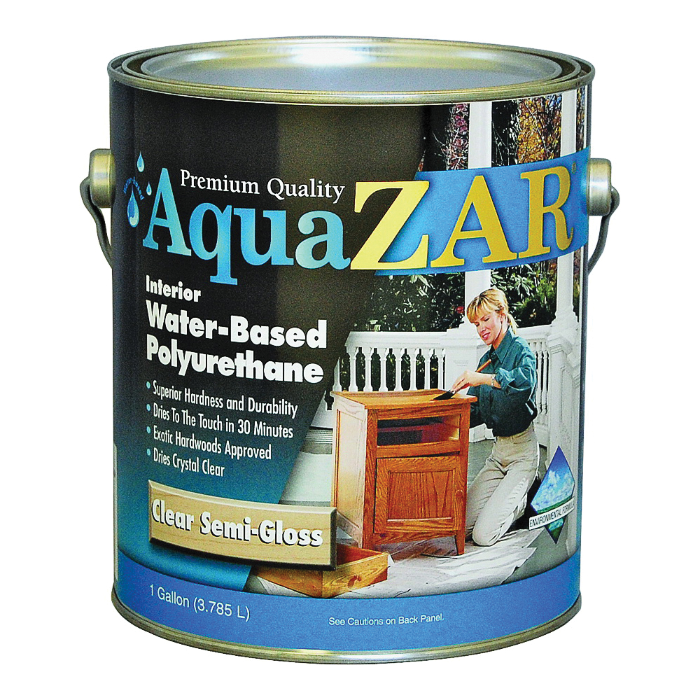 Picture of Aqua ZAR 34513 Polyurethane Paint, Semi-Gloss, Liquid, Crystal Clear, 1 gal, Can