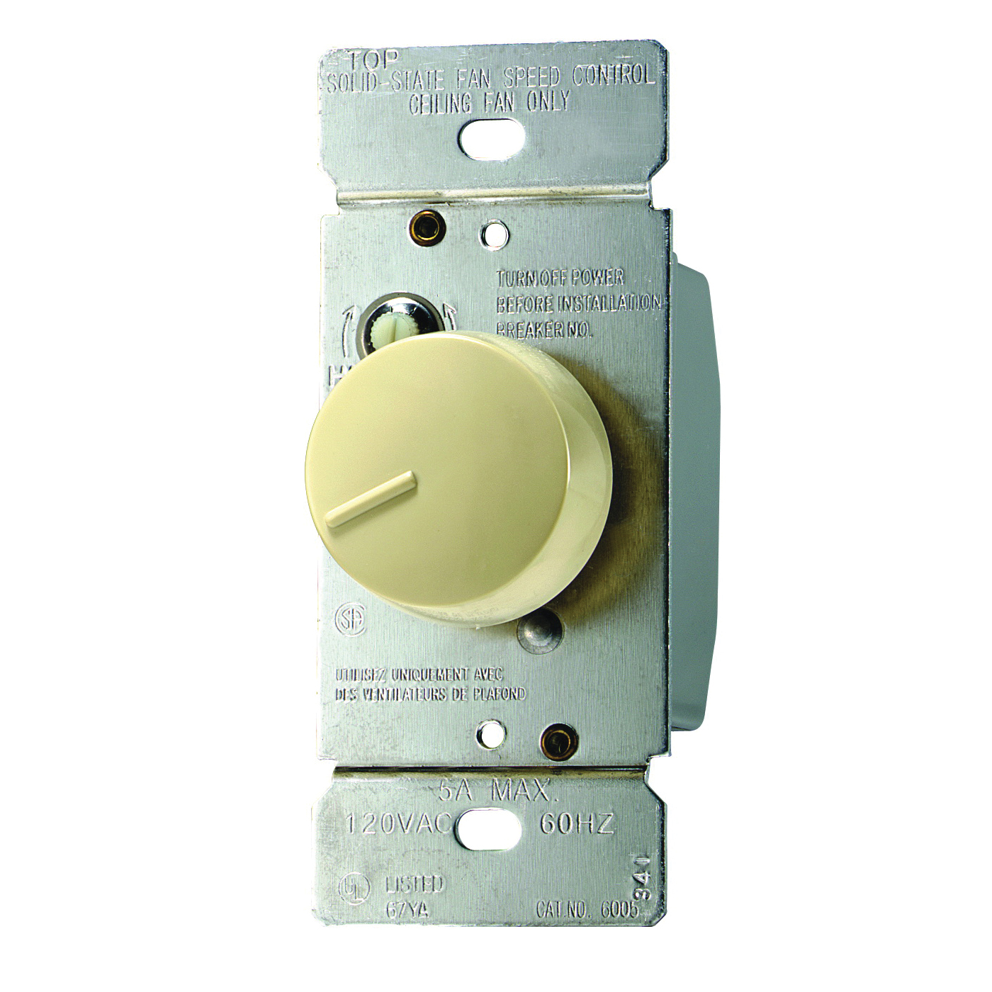 Picture of Eaton Wiring Devices RFS5-V-K Rotary Control Switch, 5 A, 120 V, Rotary Actuator, Polycarbonate, Ivory