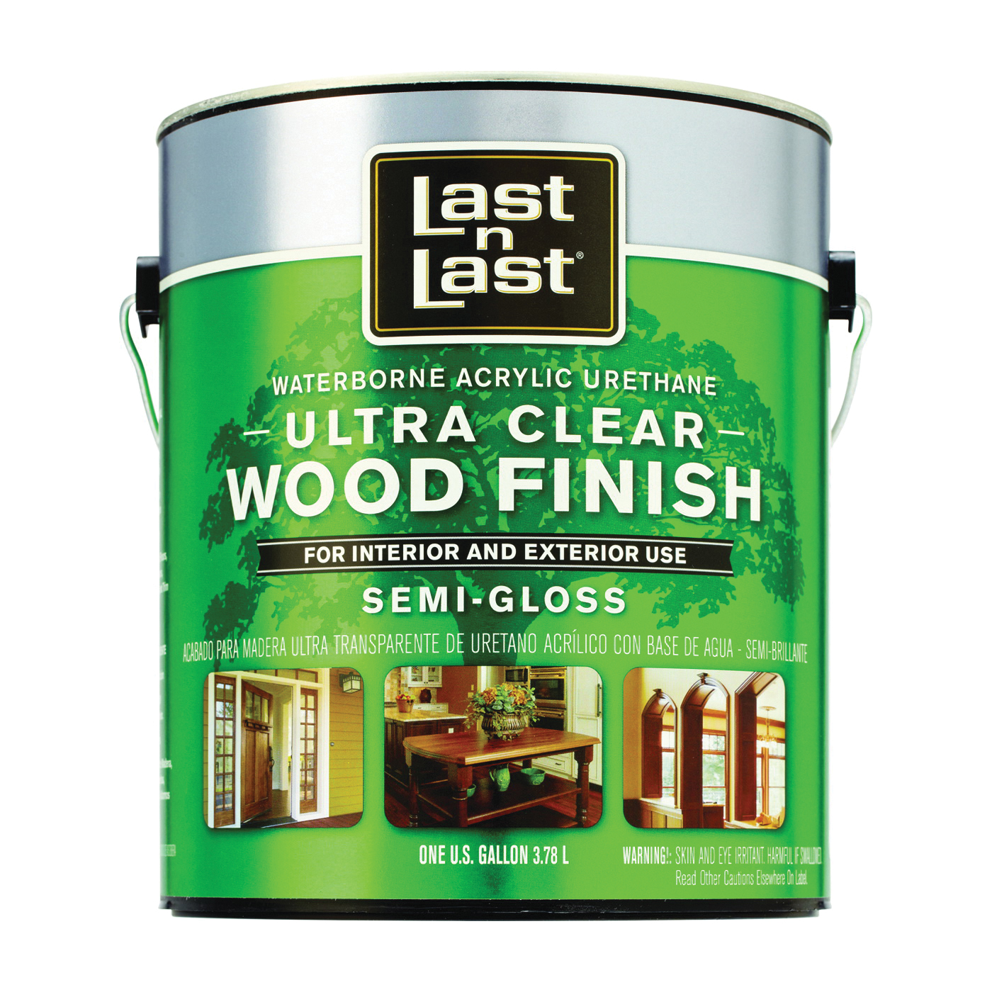 Picture of Last n Last 14001 Ultra Clear Wood Finish, Semi-Gloss, Liquid, Ultra Clear, 1 gal, Can
