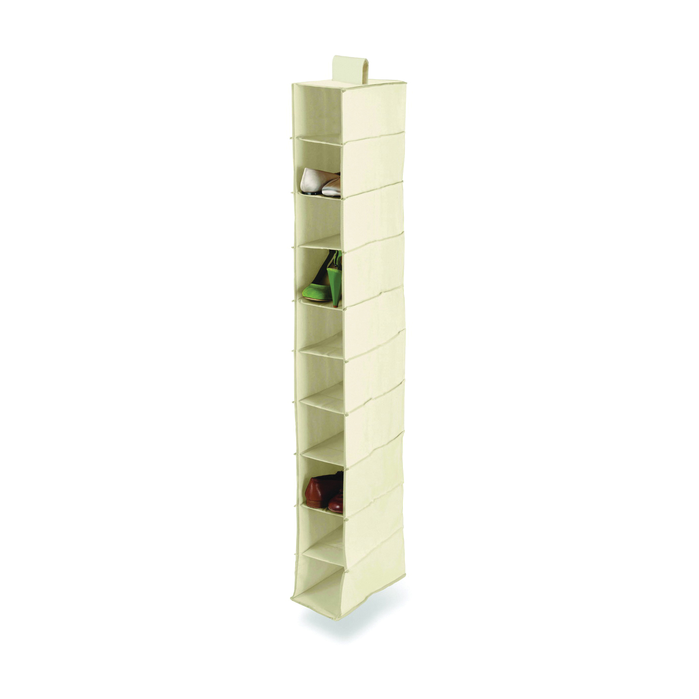 Picture of Honey-Can-Do SFT-01254 Closet Organizer, 12 in W, 54 in H, 10-Shelf, Canvas, Beige