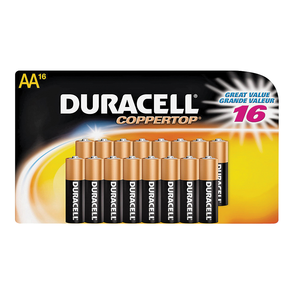 Picture of DURACELL COPPERTOP MN1500 Series MN1500B16 Alkaline Battery, 1.5 V Battery, AA Battery, Manganese Dioxide, 16