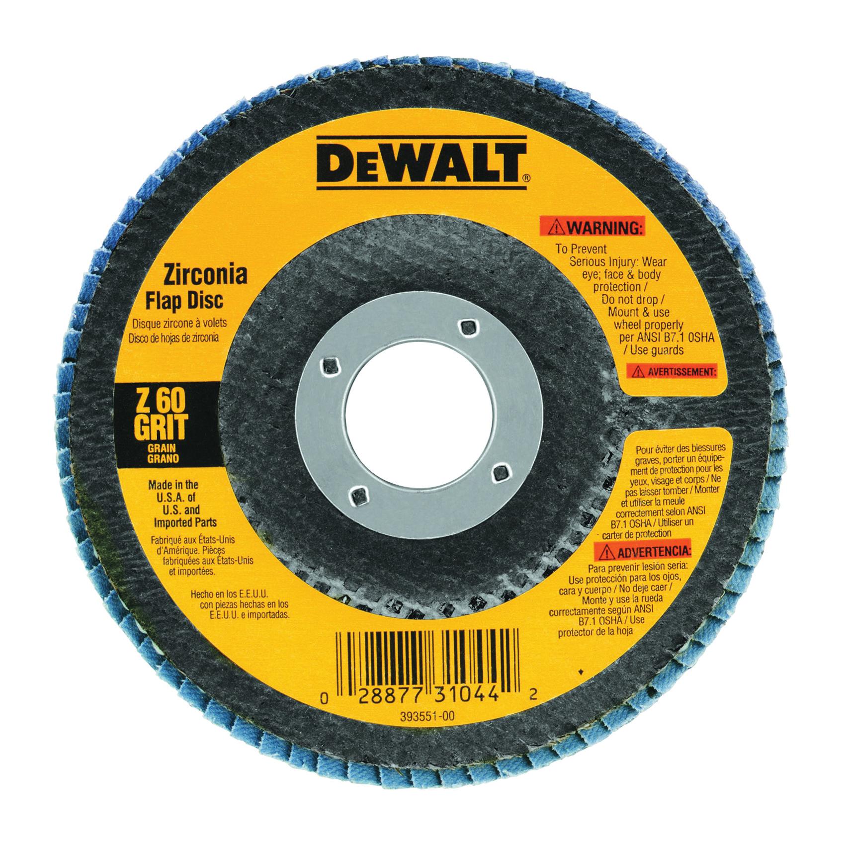 Picture of DeWALT DW8310 Flap Disc, 4-1/2 in Dia, 7/8 in Arbor, Coated, 120 Grit, Zirconia Abrasive, Fiberglass Backing
