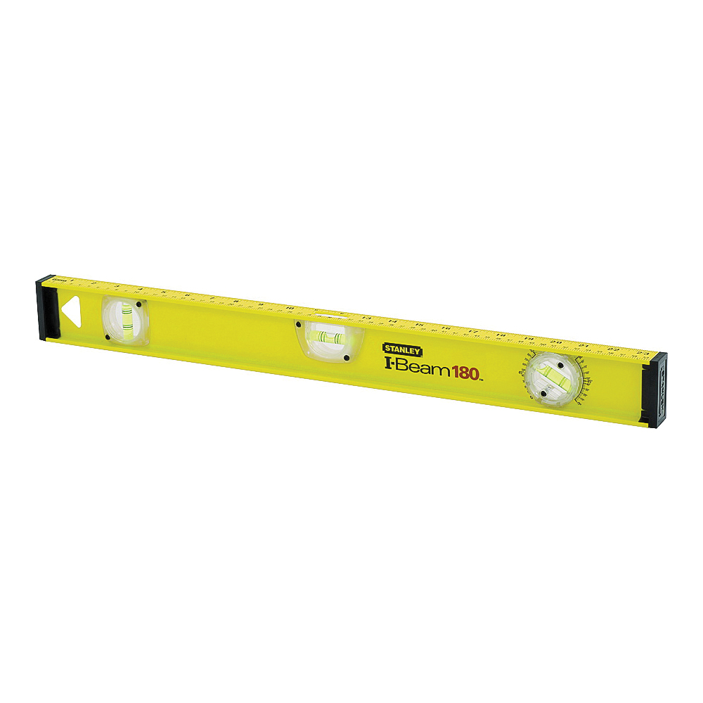 Picture of STANLEY 42-328 I-Beam Level, 48 in L, 3 -Vial, 2 -Hang Hole, Non-Magnetic, Aluminum, Black/Yellow