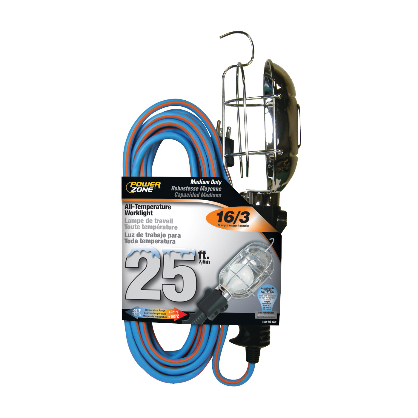 Picture of PowerZone ORTL020625 Work Light, 12 A, 125 V, Incandescent Lamp, Blue