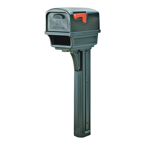 Picture of Gibraltar Mailboxes Gentry GGC1B0000 Mailbox Post Combo, 1000 cu-in Mailbox, Plastic Mailbox, Plastic Post, Black