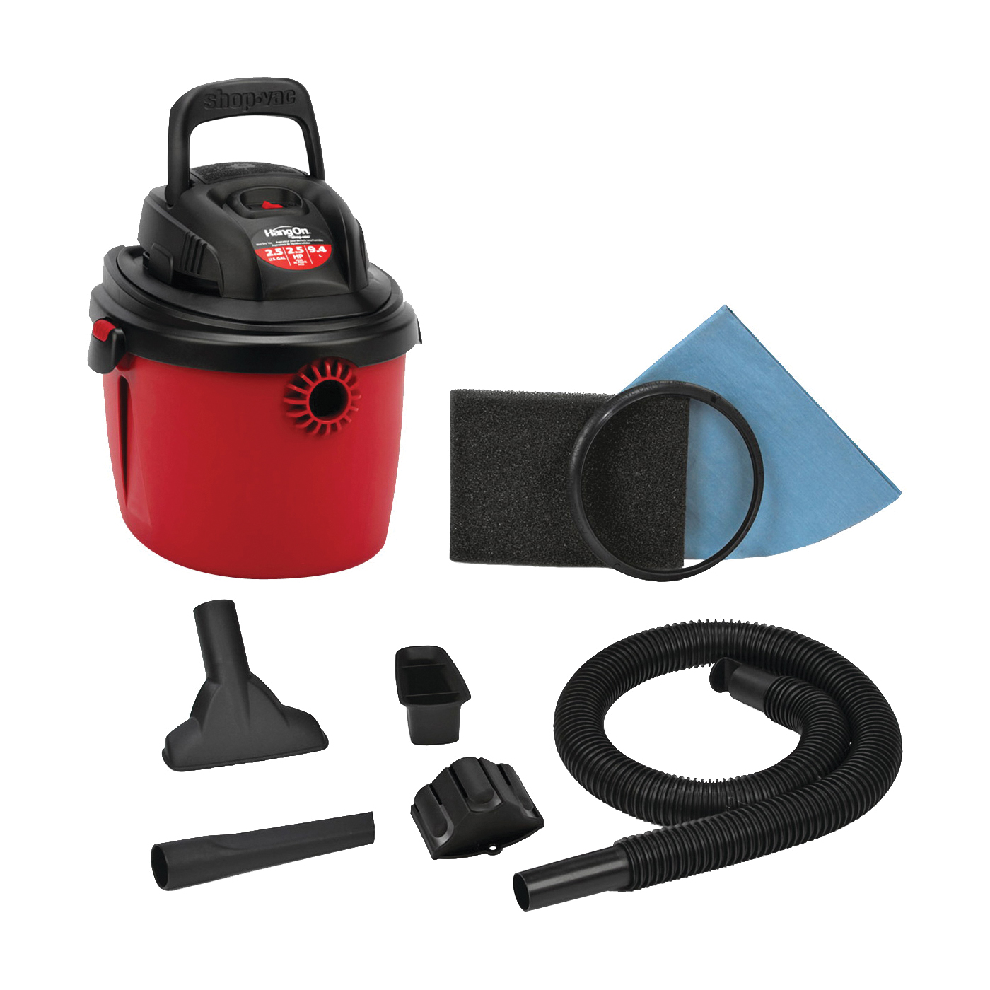 Picture of Shop-Vac HangOn 2036000 Wet/Dry Corded Vacuum, 2.5 gal Vacuum, Foam Sleeve Filter, 120 V