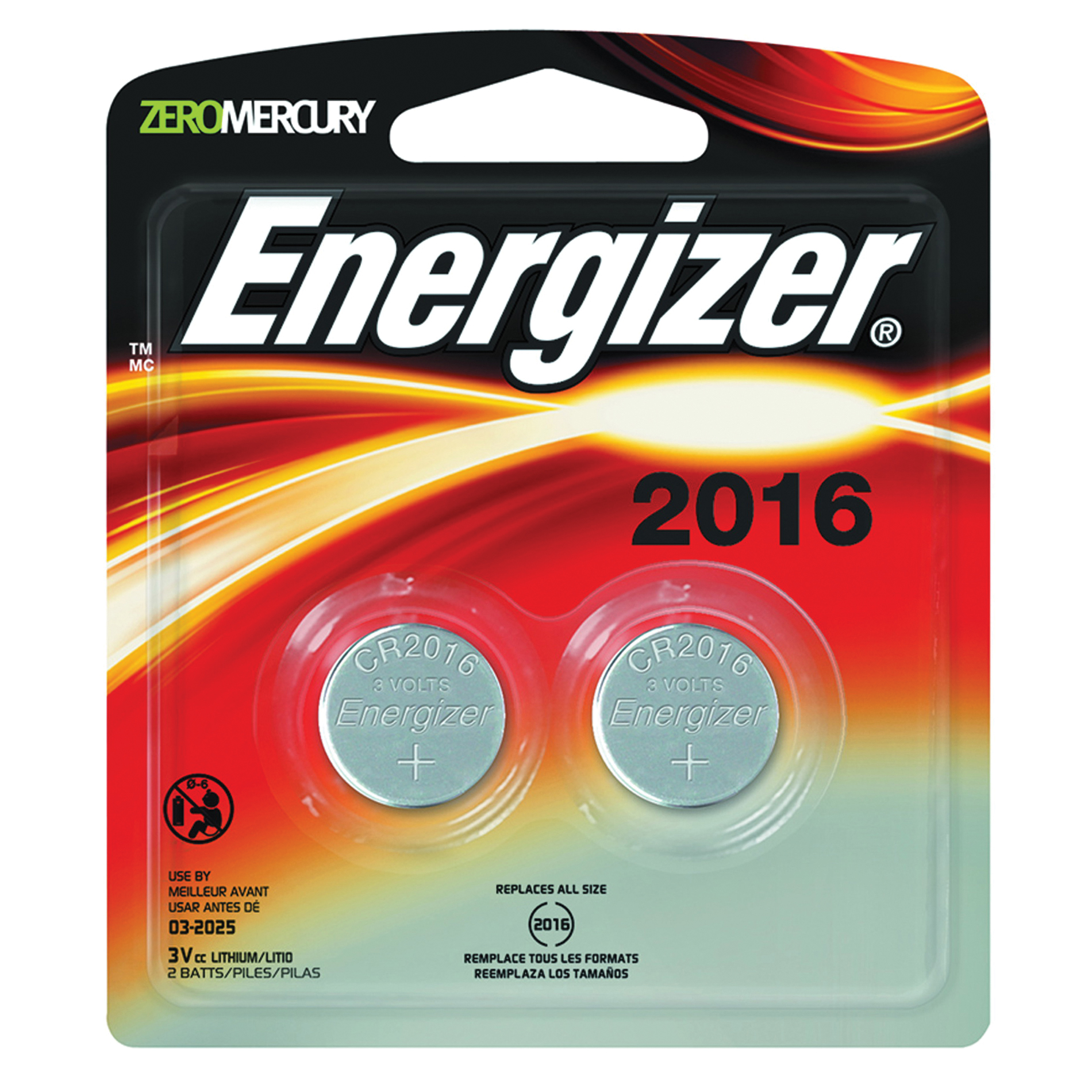 Picture of Energizer 2016BP-2 Coin Cell Battery, 3 V Battery, 100 mAh, CR2016 Battery, Lithium, Manganese Dioxide