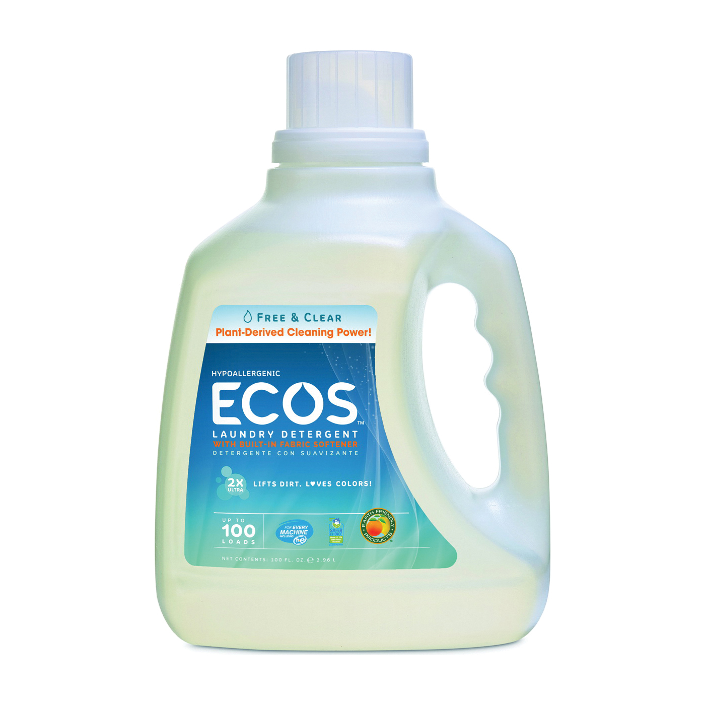 Picture of ECOS 9889/04 Laundry Detergent, 100 oz, Jug, Liquid, Neutral