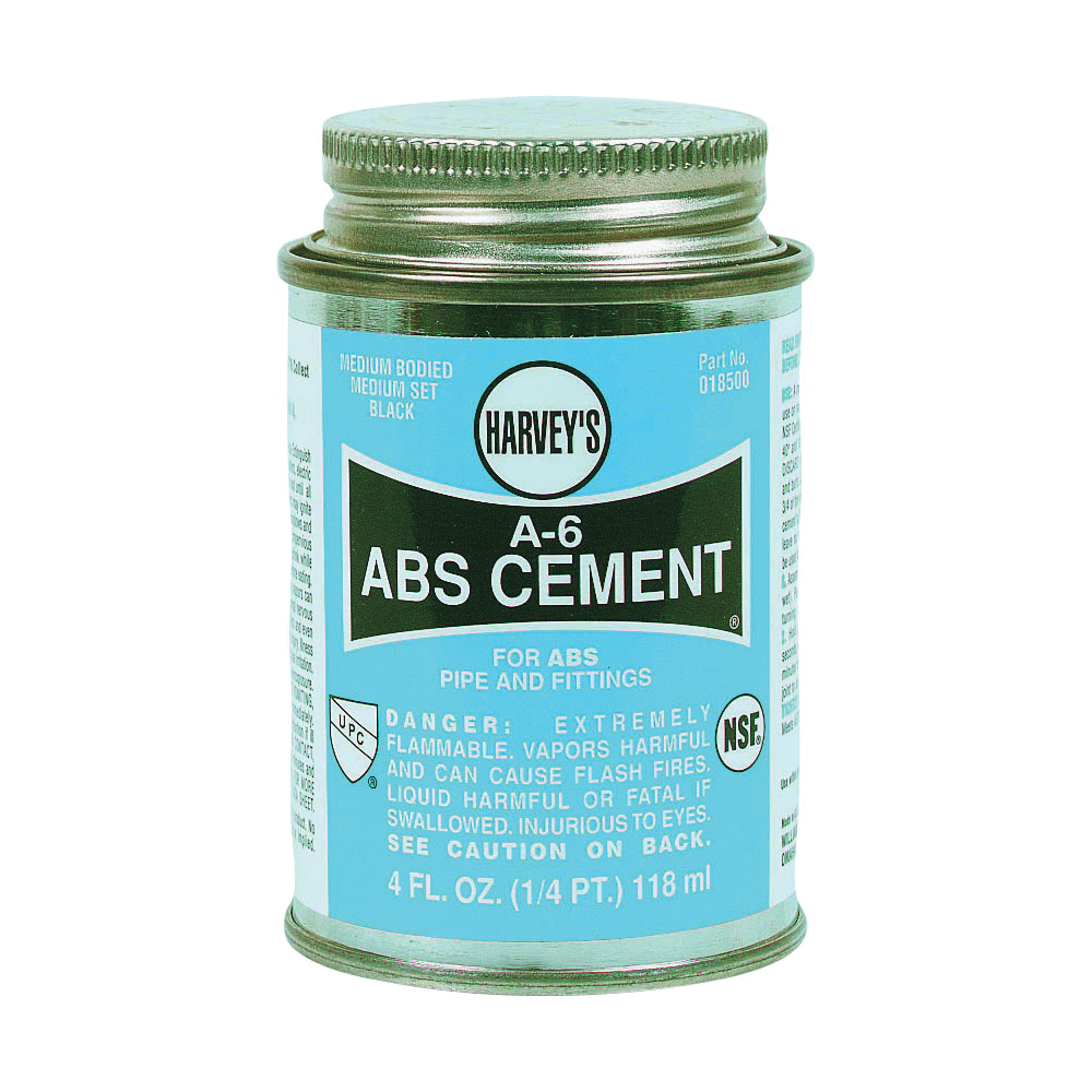 Picture of HARVEY A-6 Series 018500-24 Solvent Cement, Liquid, Black, 4 oz Package, Can