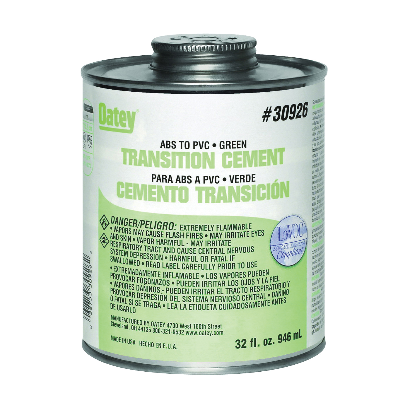 Picture of Oatey 30926 Solvent Cement, 32 oz, Can, Liquid, Green
