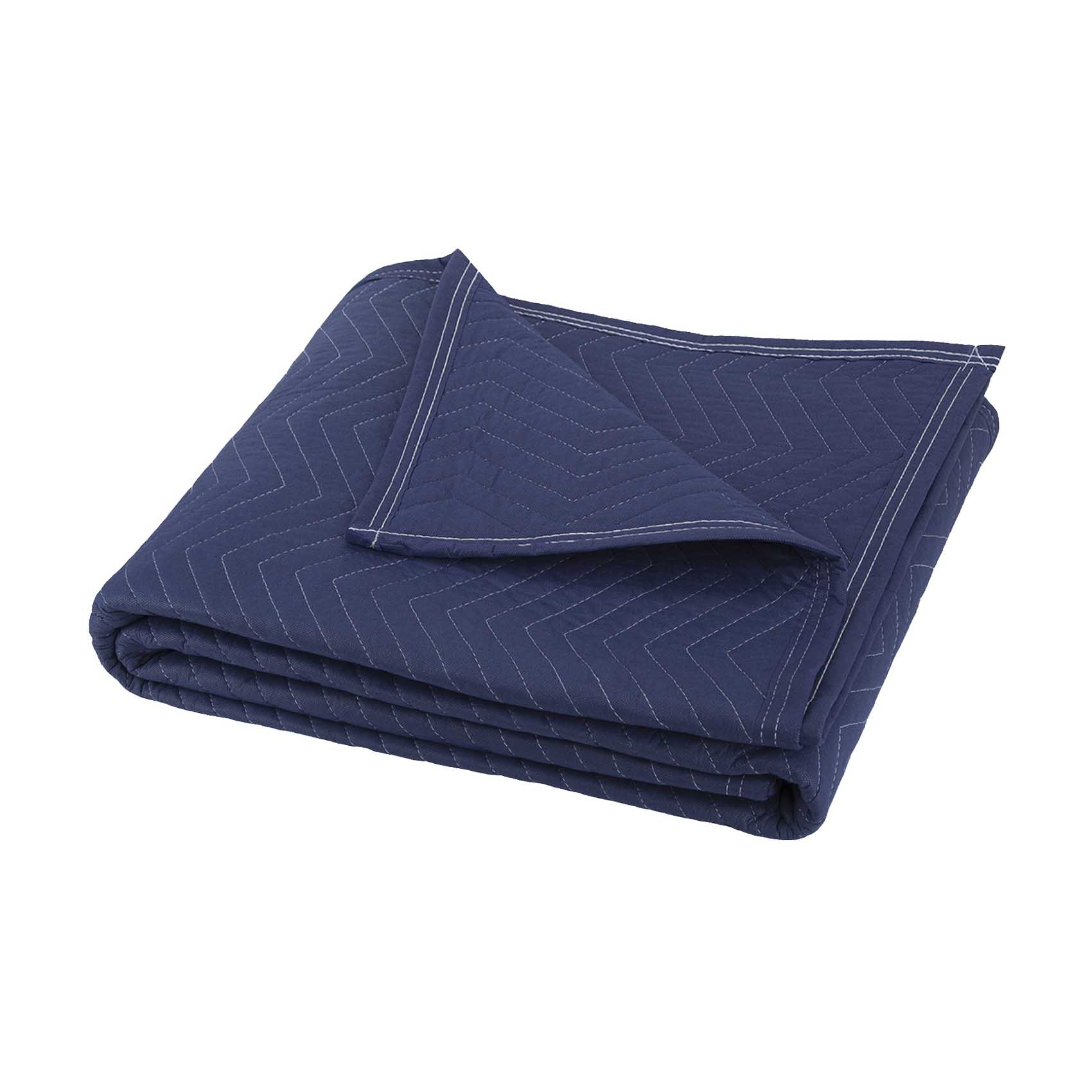 Picture of ProSource MT10101 Movers Blanket, 80 in L, 72 in W, Cotton/Polyester, Dark Blue/Light Blue