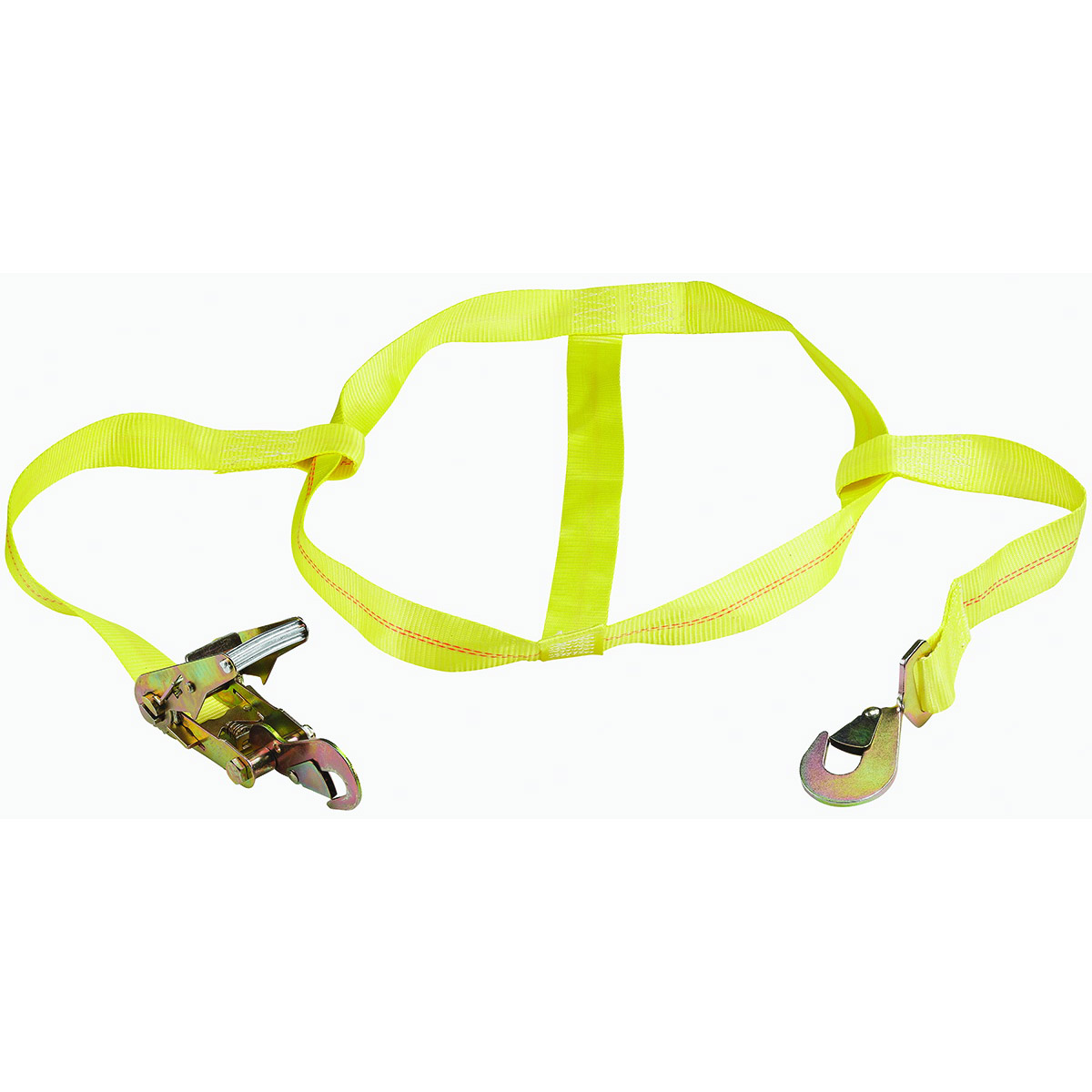 Picture of ProSource FH4016 Tie-Down, 2 in W, 14-7/8 in L, Polyester Webbing, Metal Ratchet, Yellow, 3333 lb