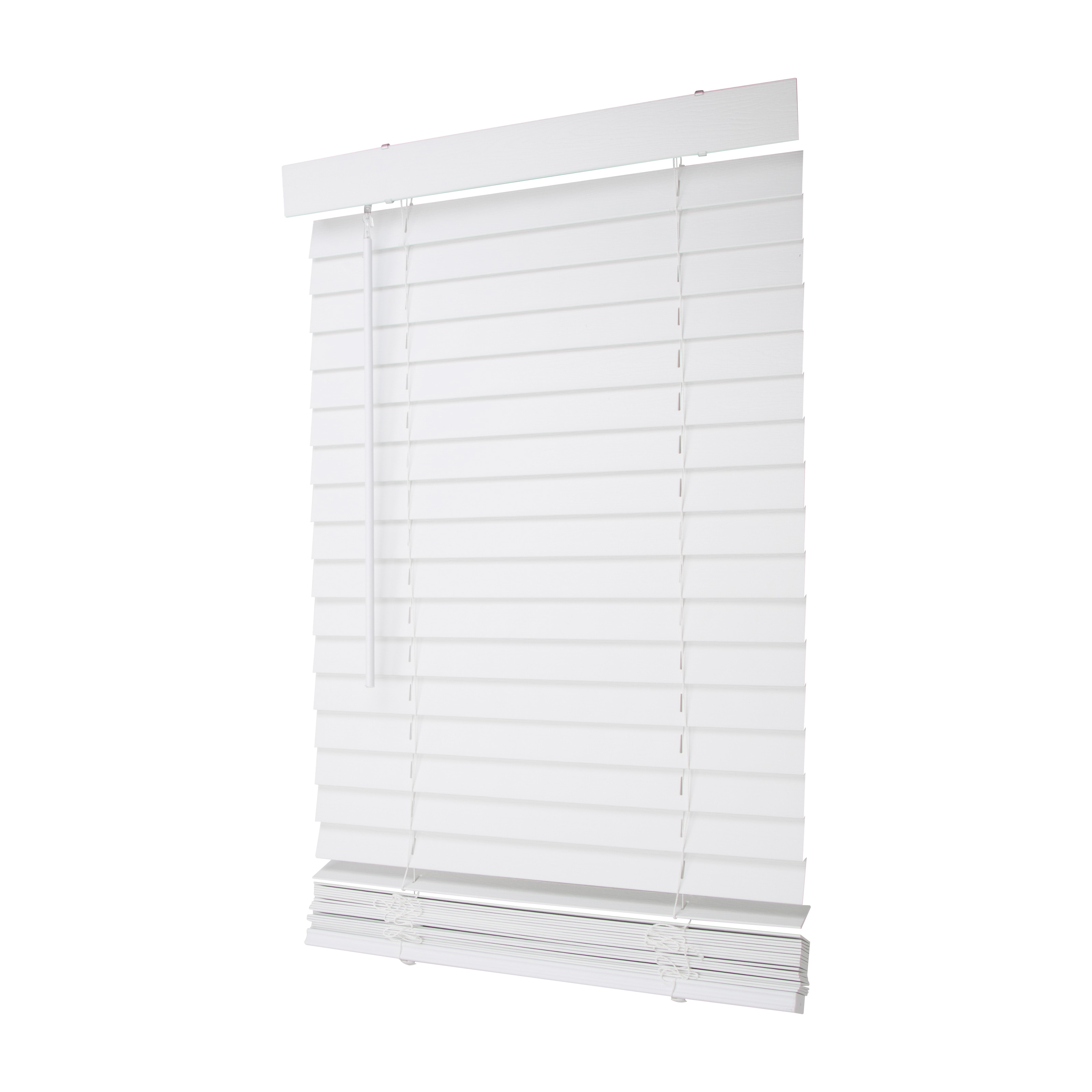 Picture of Simple Spaces FWMB-8 Cordless Mini Blind, 64 in L, 23 in W, Faux Wood, White
