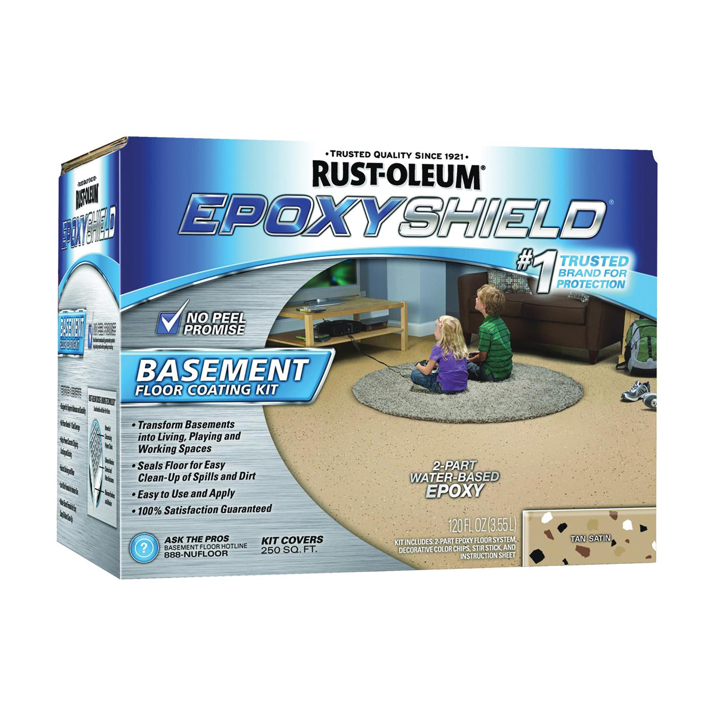 Picture of RUST-OLEUM EPOXYSHIELD 203008 Basement Floor Coating Kit, Satin, Tan, Liquid