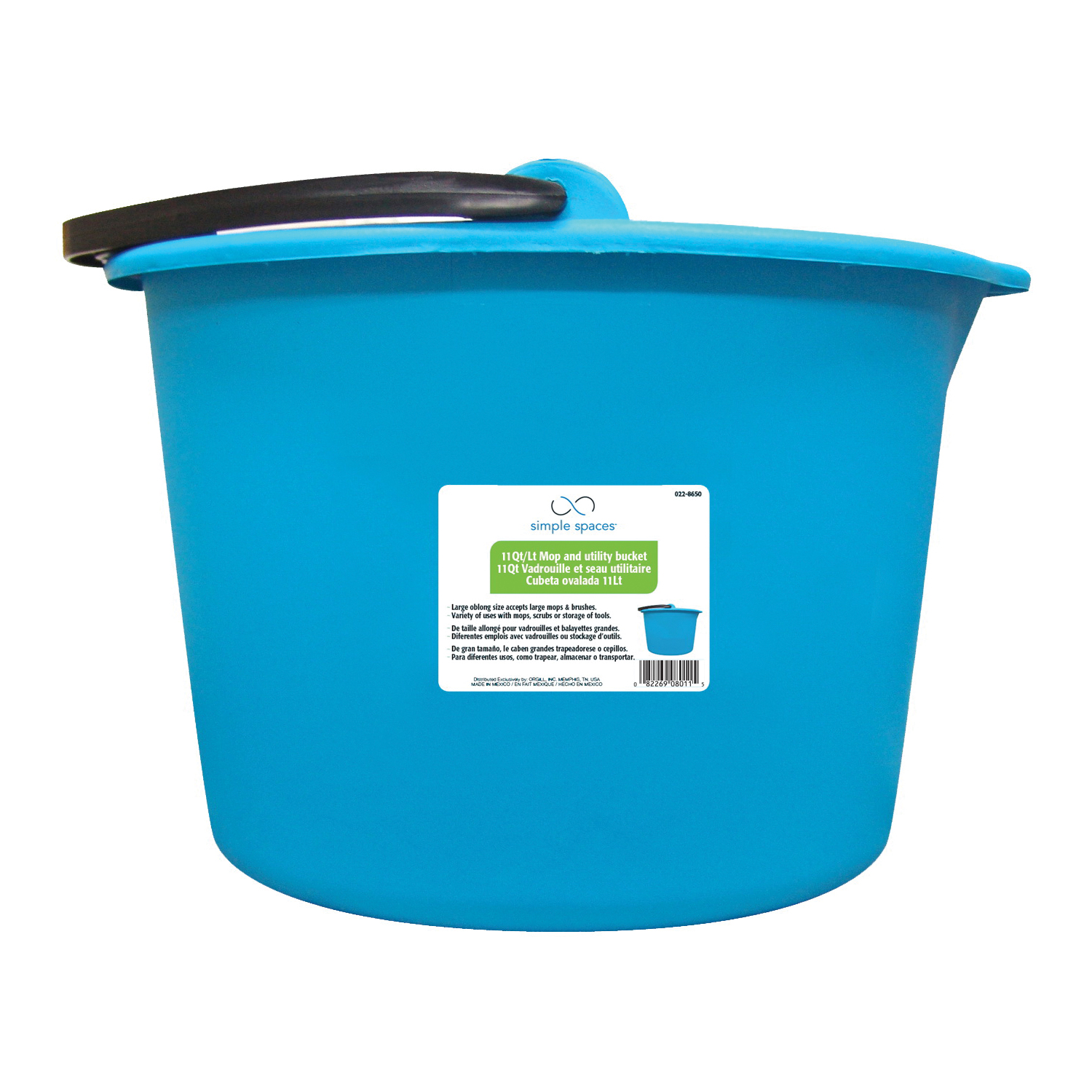 Picture of Simple Spaces 8011 Mop Bucket, 11 qt Capacity, Oblong, Plastic Bucket/Pail