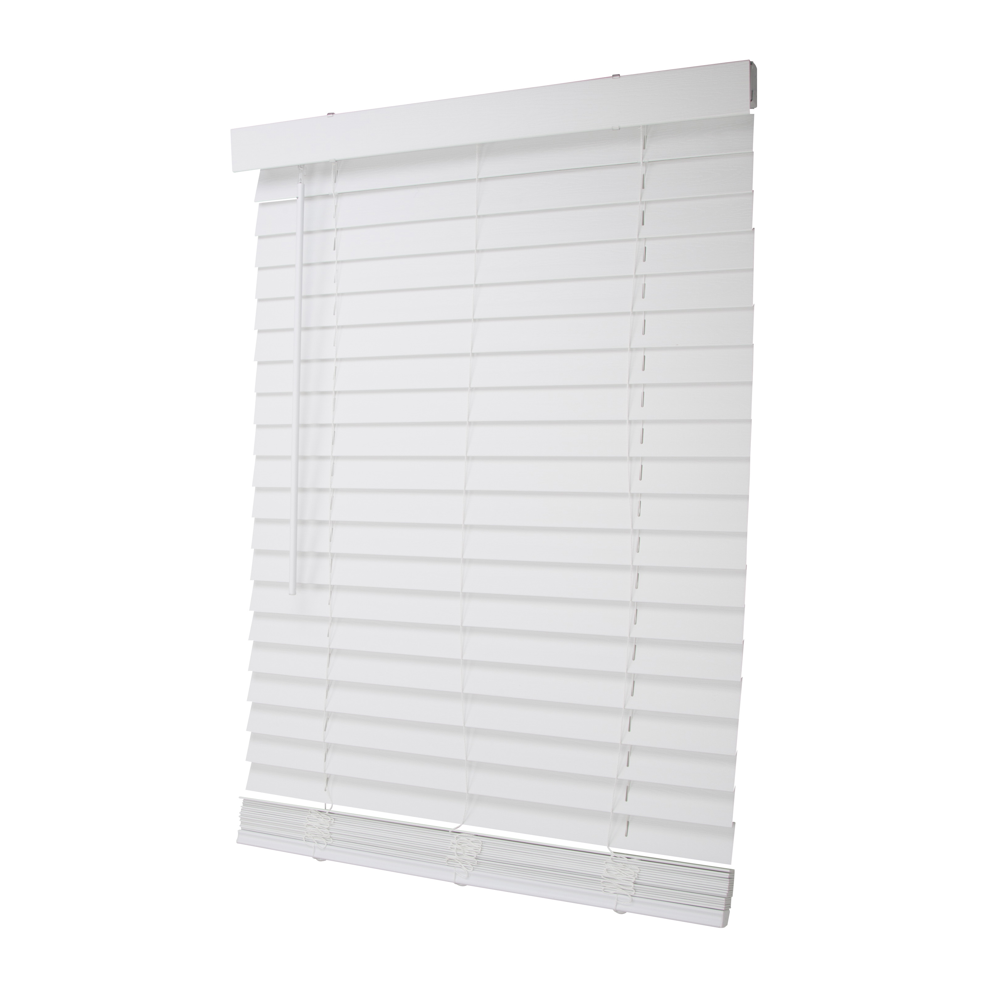 Picture of Simple Spaces FWMB-9 Cordless Mini Blind, 64 in L, 27 in W, Faux Wood, White