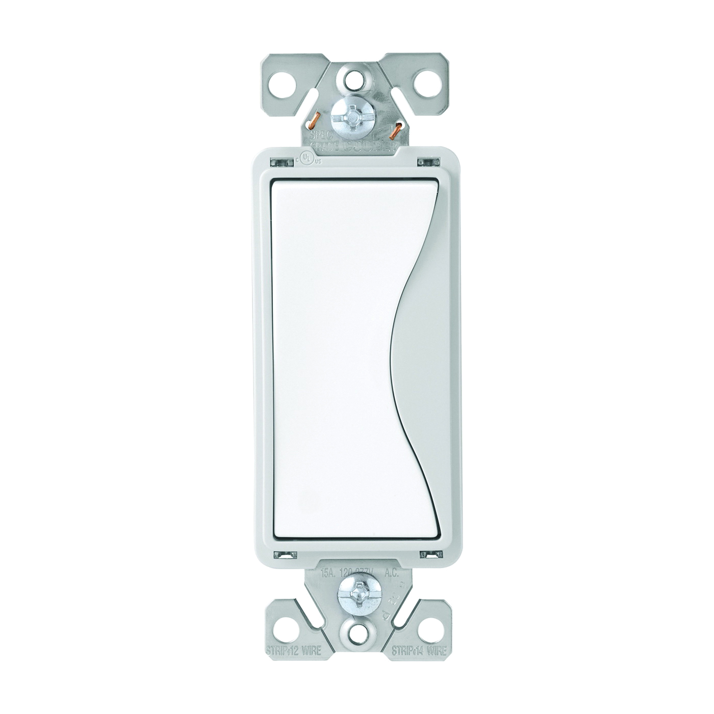 Picture of Eaton Wiring Devices ASPIRE 9504WS Rocker Switch, 15 A, 120/277 V, 4-Way, Push-In Terminal, White