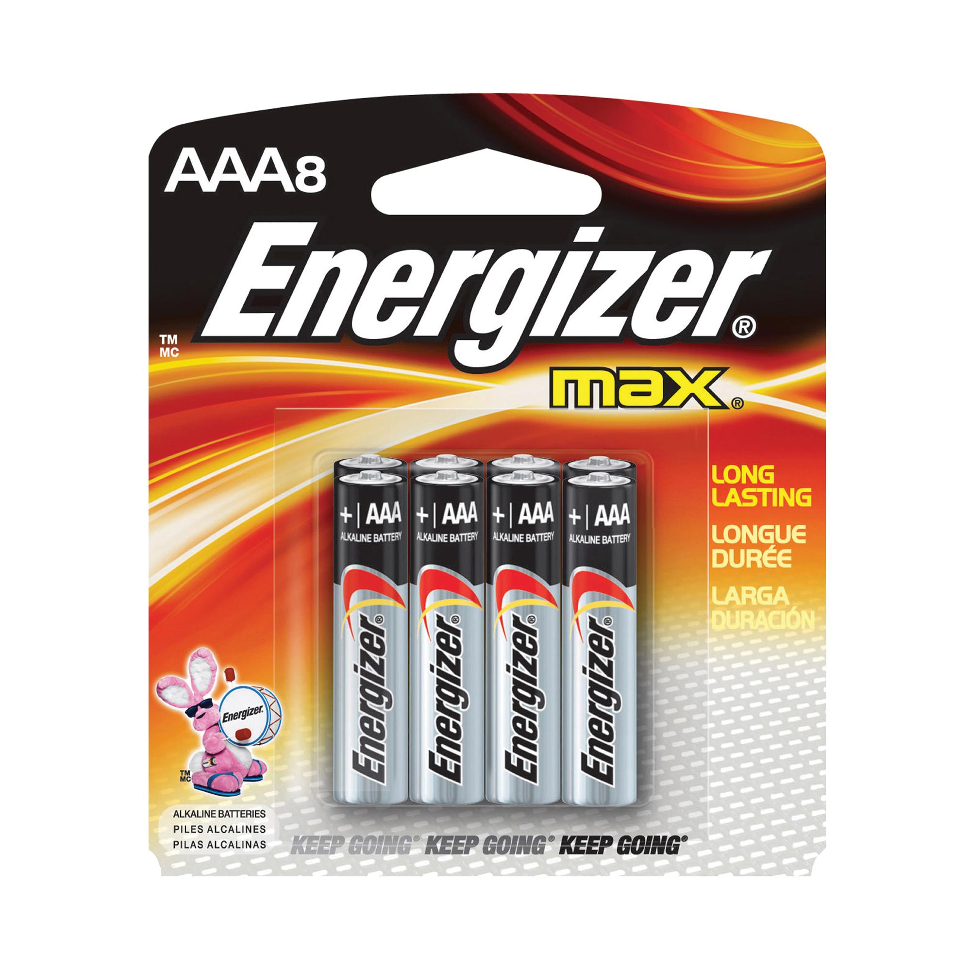 Picture of Energizer E92MP-8 Alkaline Battery, 1.5 V Battery, 1250 mAh, AAA Battery, Zinc, Manganese Dioxide, 8/PK