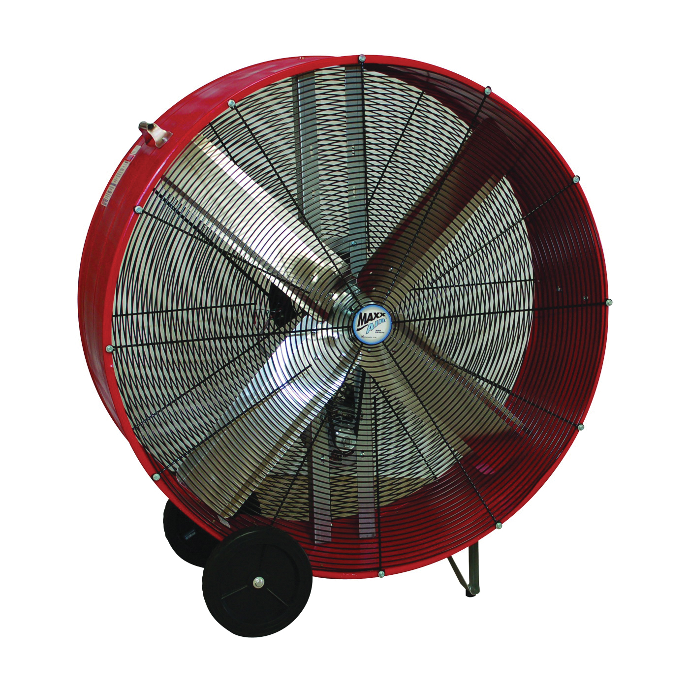 Picture of MaxxAir BF48BDRED/GLV Portable Barrel Fan, 120 V, 2-Speed, 10,100 to 18,000 cfm Air, Red