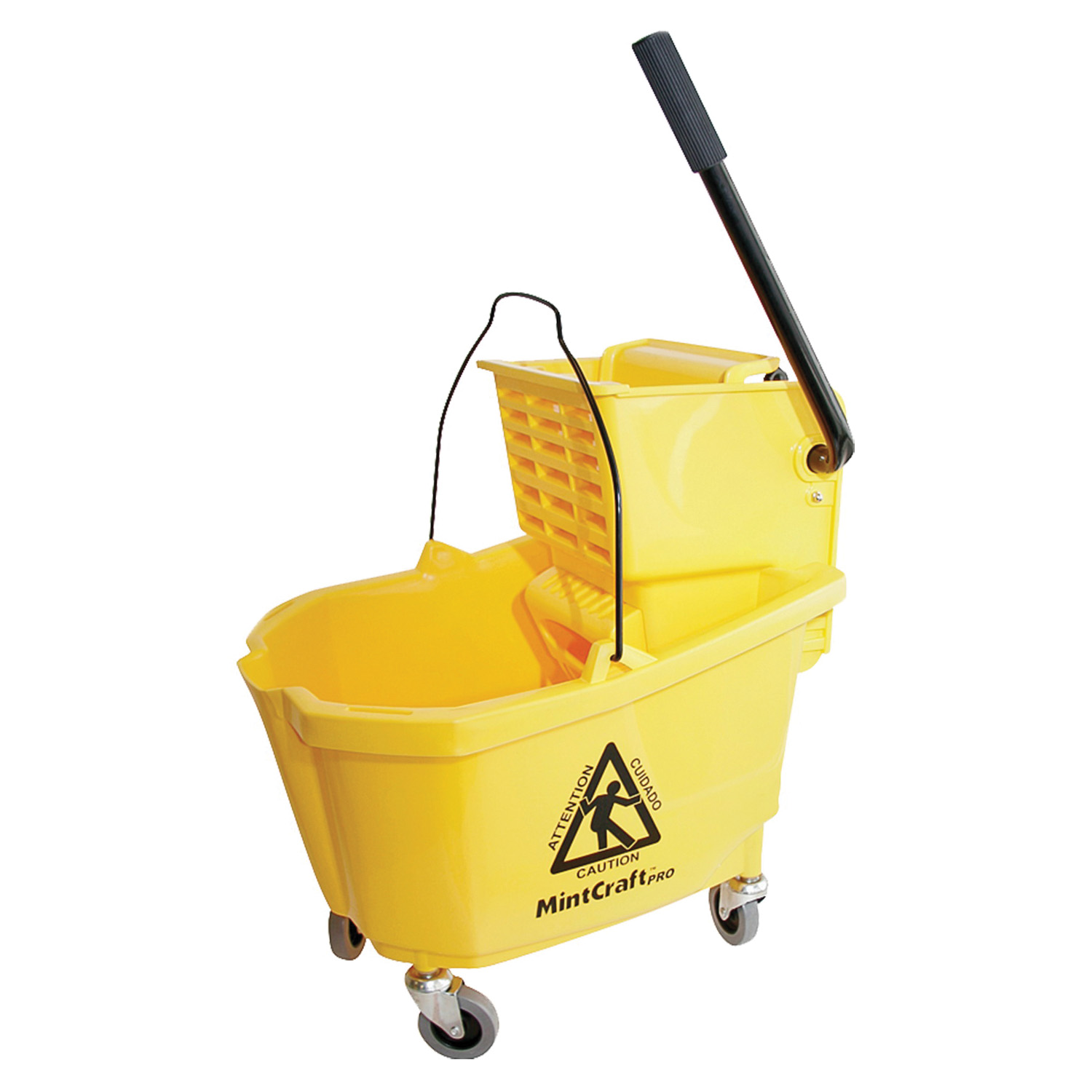 Picture of Simple Spaces 9130 Mop Bucket with Ringer, 32 qt Capacity, Plastic Bucket/Pail, Plastic Wringer, Yellow