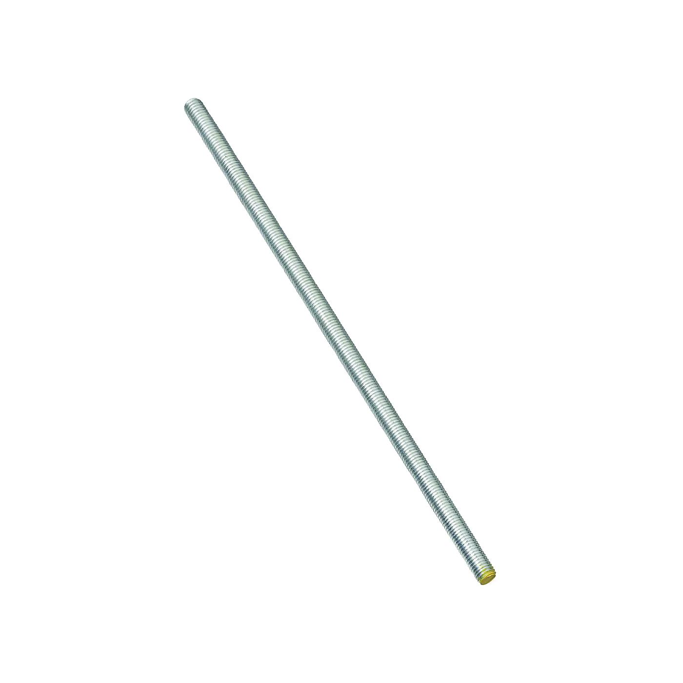 Picture of Stanley Hardware 179333 Threaded Rod, 3/8-16 Thread, 12 in L, A Grade, Steel, Zinc, UNC Thread