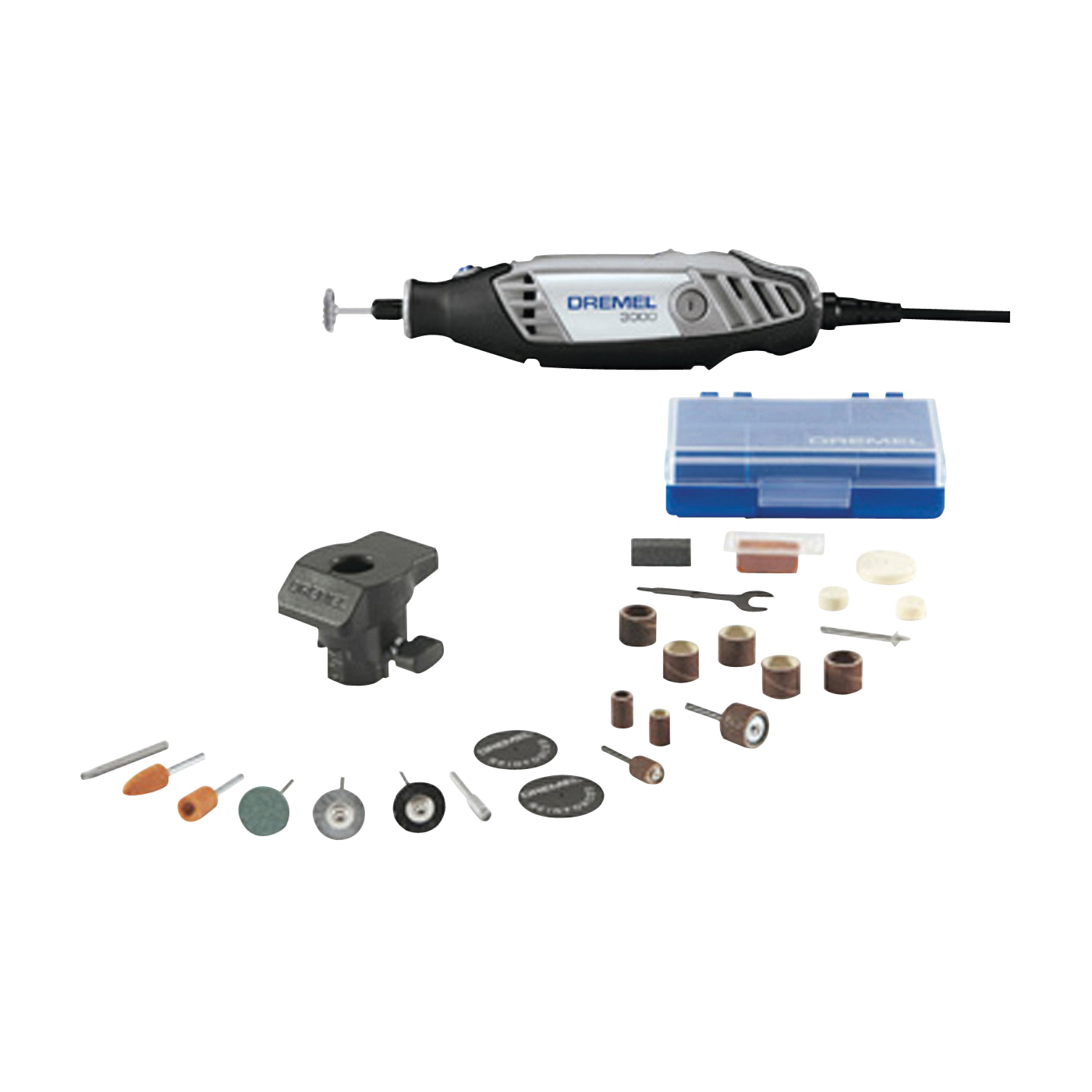 Picture of DREMEL 3000-1/24 Rotary Tool Kit, 120 V, 1.2 A, 1/32 to 1/8 in Chuck, Keyed Chuck, 5000 to 35,000 rpm Speed