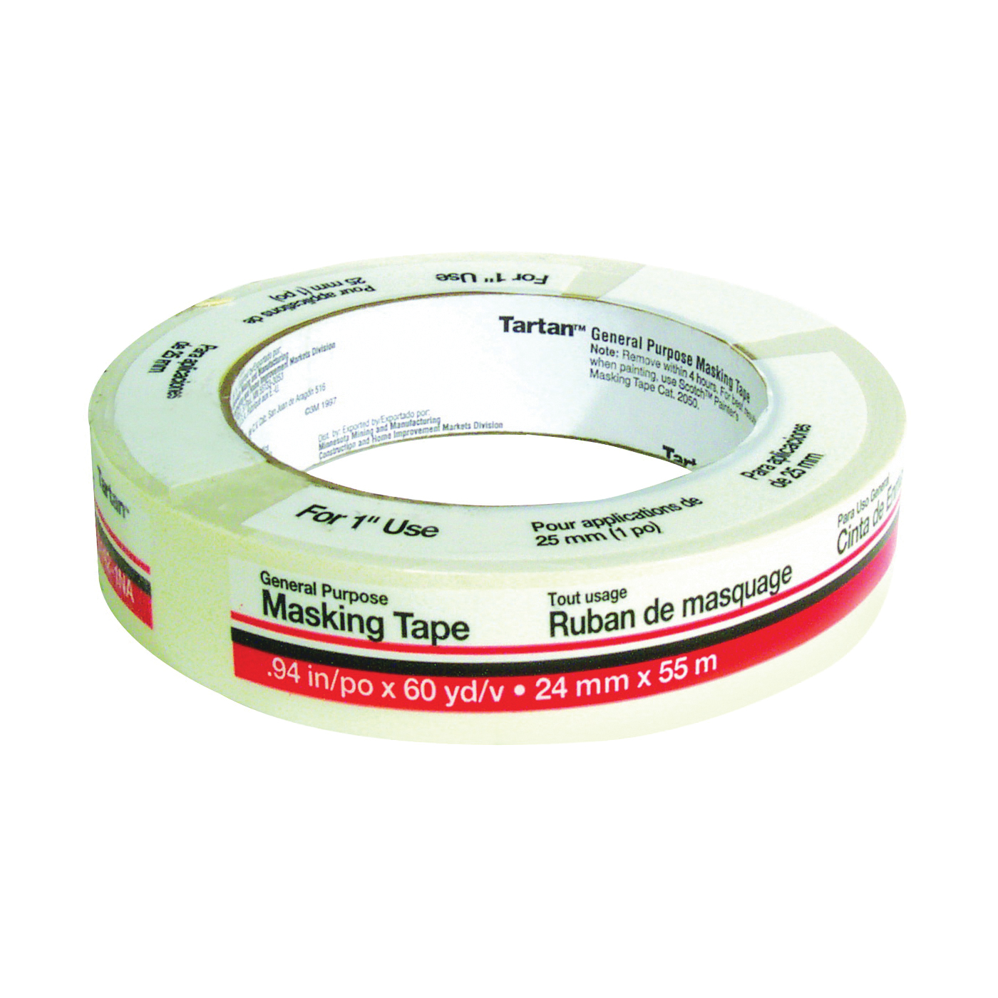 Picture of 3M Tartan 5142.1 Masking Tape, 60 yd L, 1 in W, Crepe Paper Backing, Tan