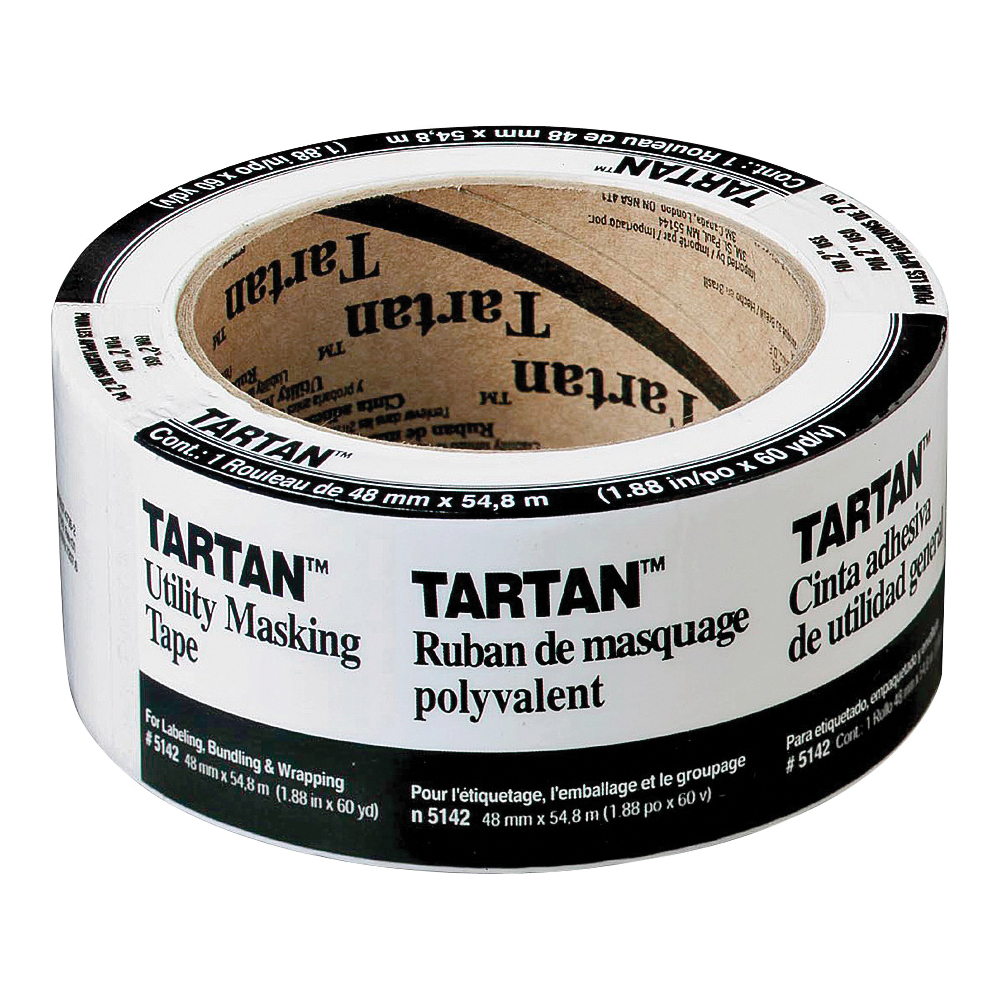 Picture of 3M Tartan 5142-48A Masking Tape, 60 yd L, 2 in W, Crepe Paper Backing, Tan