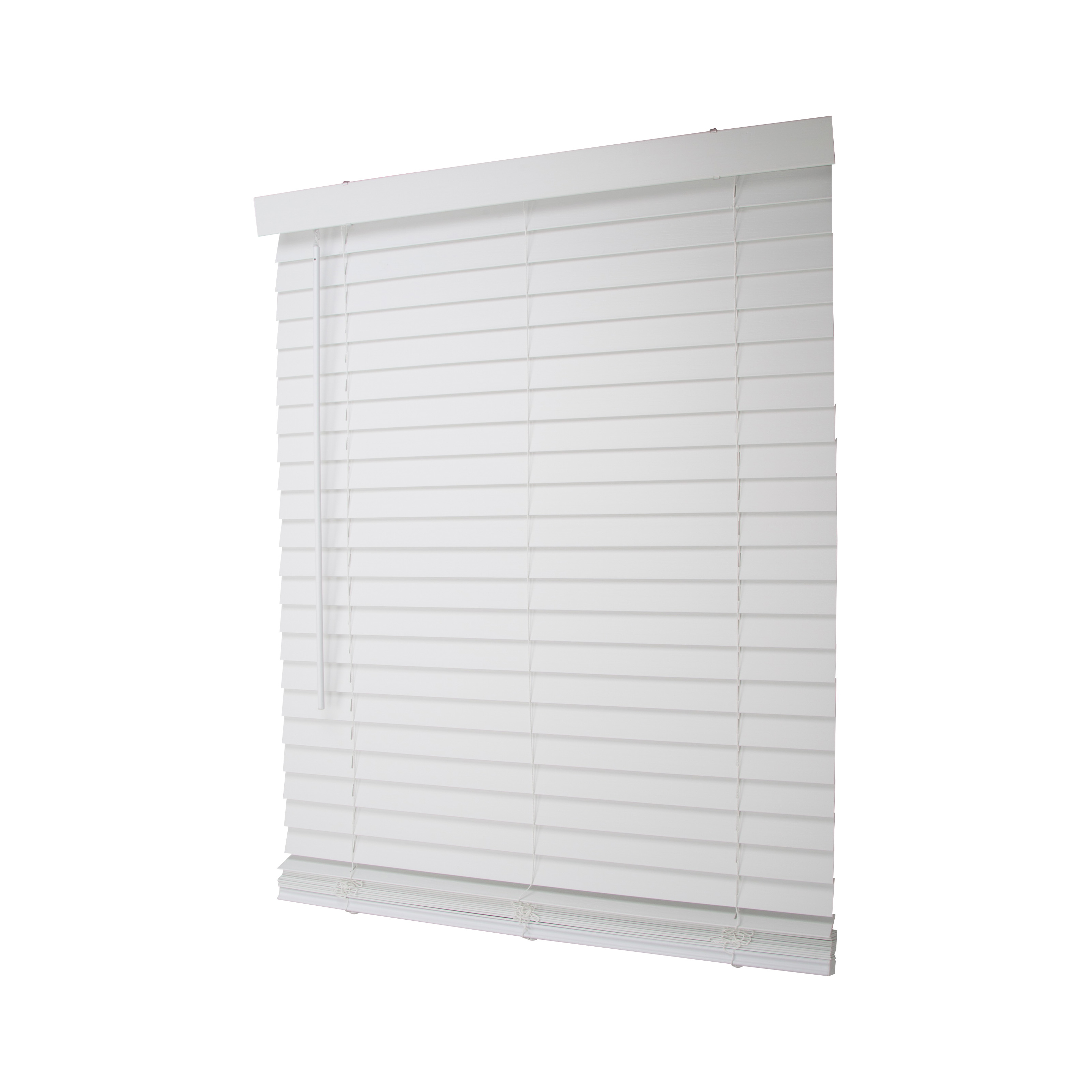 Picture of Simple Spaces FWMB-13 Cordless Mini Blind, 64 in L, 32 in W, Faux Wood, White