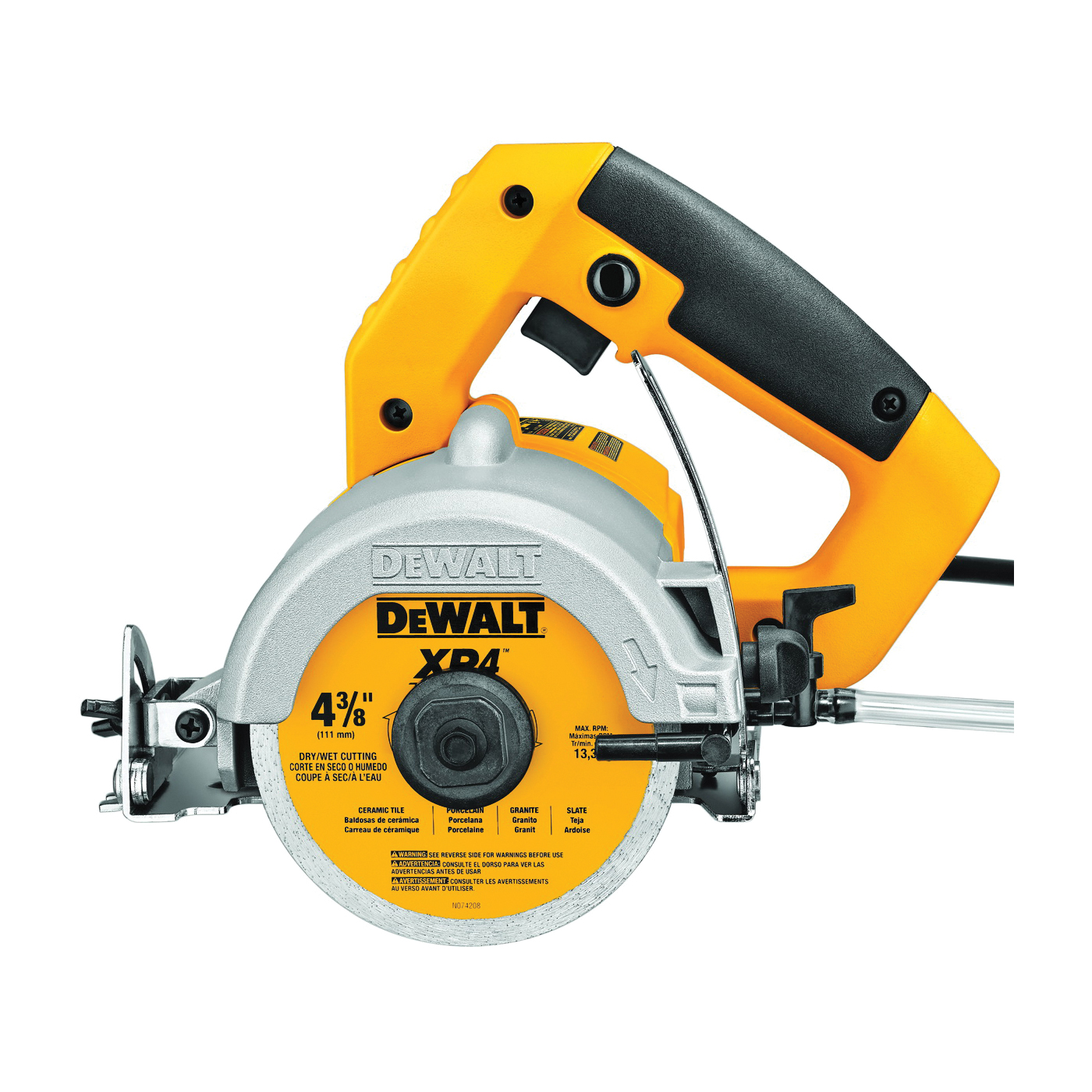 Picture of DeWALT DWC860W Tile Saw, 4-3/8 in Blade, 1-3/8 in at 90 deg, 3-1/8 in Max D Cutting