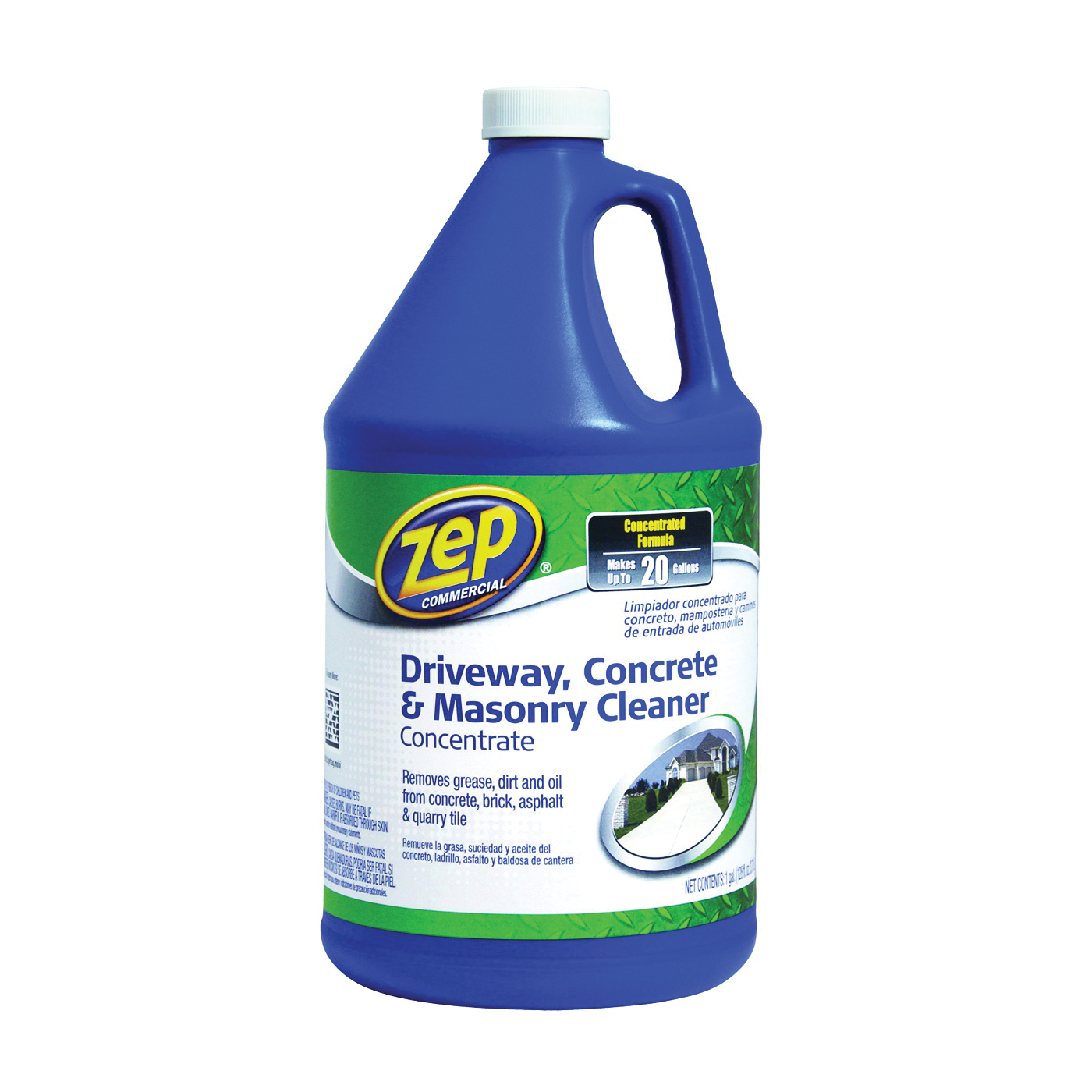 Picture of Zep ZUCON128 Concrete and Masonry Cleaner, Liquid, Mild, Characteristic, Clear/Purple, 128 oz, Can