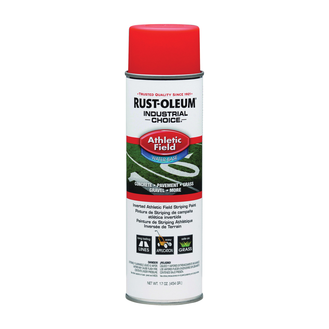 Picture of RUST-OLEUM INDUSTRIAL CHOICE 206044 Athletic Field Striping Paint, Orange, 17 oz, Aerosol Can
