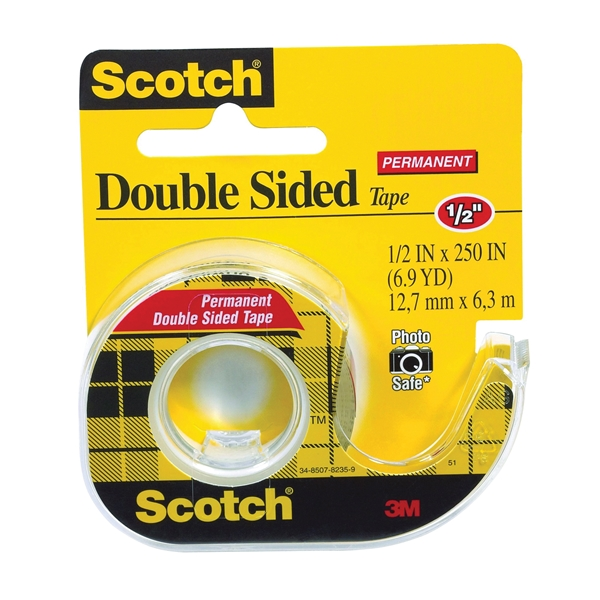 Picture of Scotch 136 Office Tape, 250 in L, 1/2 in W, Plastic Backing