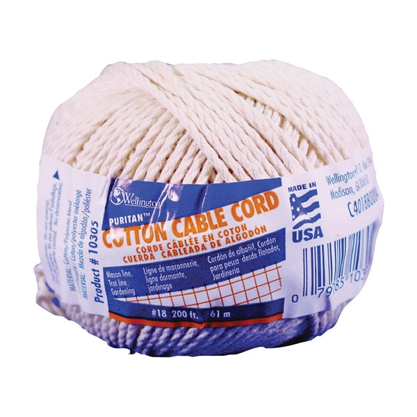 Picture of Wellington Puritan 10305 Cable Cord, #18 Dia, 200 ft L, 21 lb Working Load, Cotton, Natural