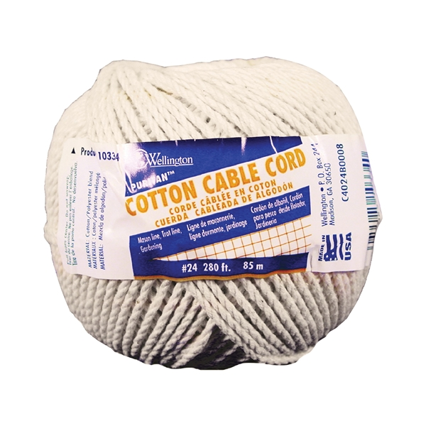 Picture of Wellington Puritan 10334 Cable Cord, #24 Dia, 280 ft L, Cotton, Natural