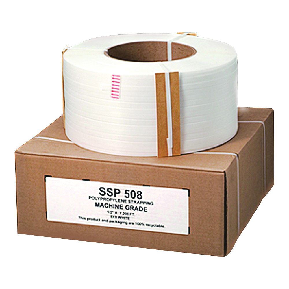 Picture of Nifty Wrapper SSP508HD Strapping Coil, 7200 ft L, 1/2 in W, 0.025 Thick Material, Polypropylene, White