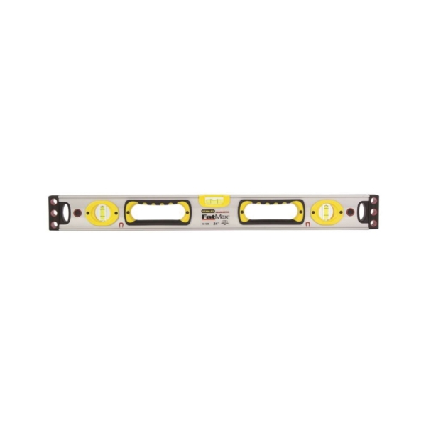 Picture of STANLEY 43-525 Box Beam Level, 24 in L, 3 -Vial, 2 -Hang Hole, Magnetic, Aluminum, Silver/Yellow