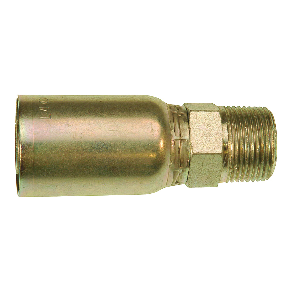 Picture of GATES MegaCrimp G25100-1616 Hose Coupling, 1-11-1/2, Crimp x NPTF, Straight Angle, Steel, Zinc