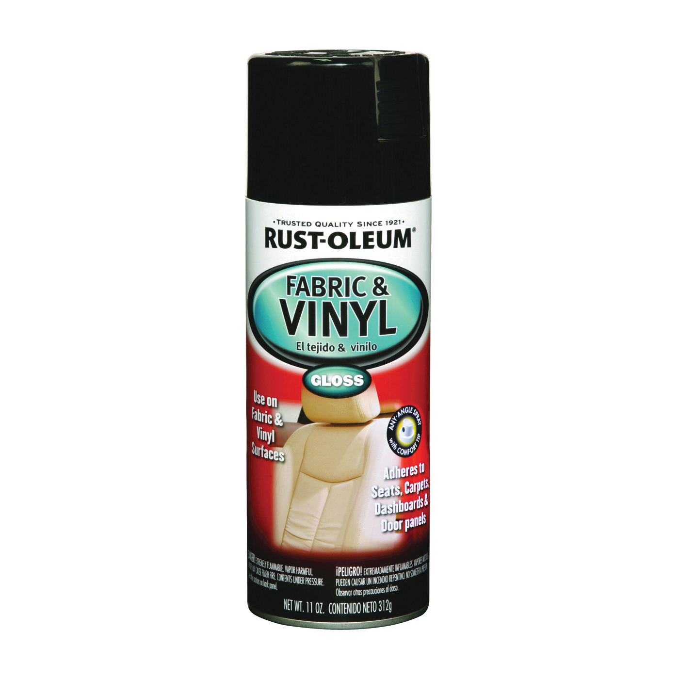 Picture of RUST-OLEUM AUTOMOTIVE 248918 Fabric and Vinyl Spray Paint, Gloss, Black, 11 oz, Aerosol Can
