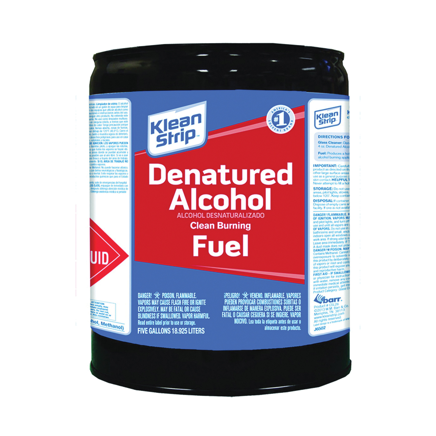 Picture of Klean Strip CSL26 Denatured Alcohol Fuel, Liquid, Alcohol, Water White, 5 gal, Can