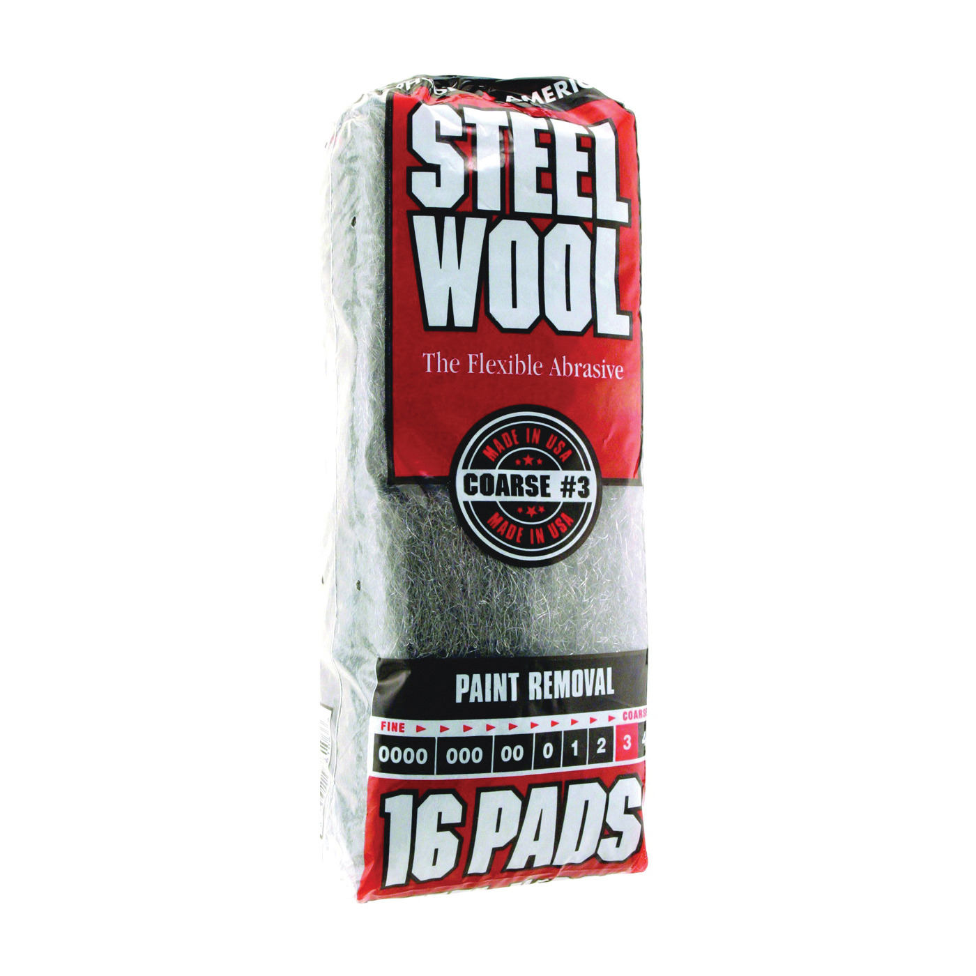 Picture of Homax 106606-06 Steel Wool Pad, #3 Grit, Coarse, Gray