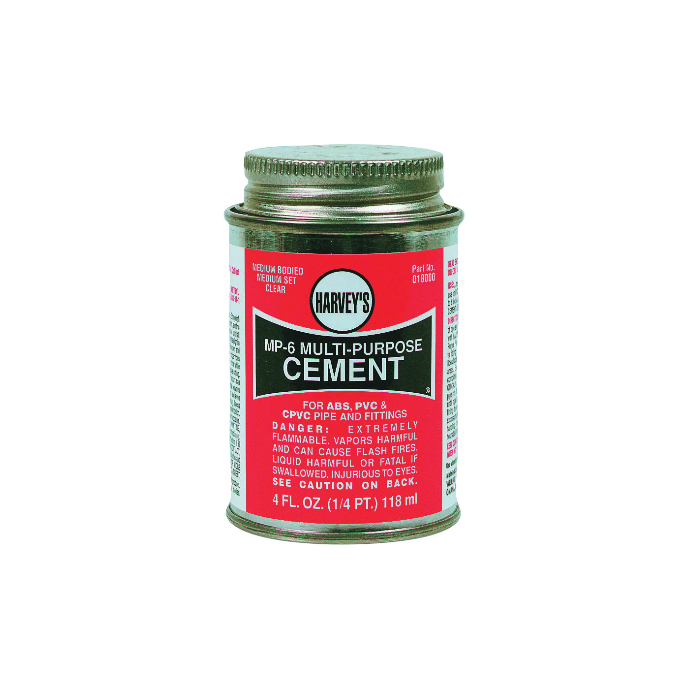 Picture of HARVEY 018000-24 Solvent Cement, 4 oz, Can, Liquid, Milky Clear