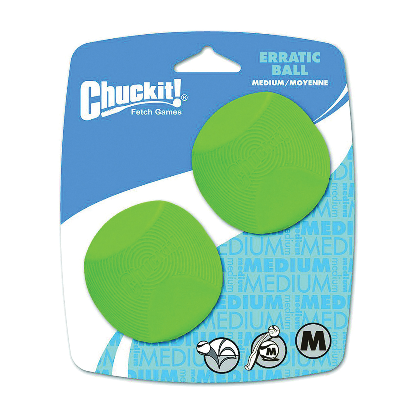 Picture of Chuckit! 20120 Dog Toy Ball, M, Erratic Toy, Natural Rubber, Green